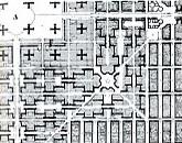 Le Corbusier. Planta propuesta de intervención sobre la trama existente de Nueva York. 1929.